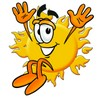 Cartoon Sun Character Jumping clipart