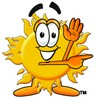 Cartoon Sun Character Pointing To The Side clipart