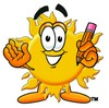 Cartoon Sun Character Holding A Pencil clipart
