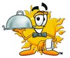 Cartoon Sun Character Serving Food clipart