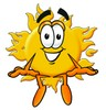 Cartoon Sun Character Sitting clipart