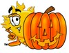 Cartoon Sun Character With A Halloween Pumpkin clipart