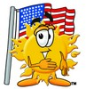 Cartoon Sun Character With American Flag clipart