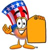Uncle Sam Character Holding A Price Tag clipart