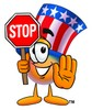 Uncle Sam Character Holding A Stop Sign clipart
