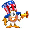Uncle Sam Character Holding A Megaphone clipart