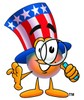 Uncle Sam Character Holding A Magnifying Glass clipart