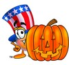 Uncle Sam Character With A Halloween Pumpkin clipart