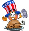 Uncle Sam Character With A Thanksgiving Turkey clipart