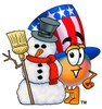 Uncle Sam Character With A Snowman clipart
