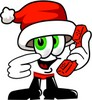 Cartoon Santa Claus Character Holding a Phone clipart