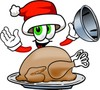 Cartoon Santa Claus Character With a Turkey clipart