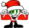 Cartoon Santa Claus Character Flexing His Muscles clipart