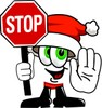Cartoon Santa Claus Character Holding a Stop Sign clipart
