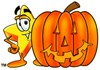 Cartoon Star Character With a Halloween Pumpkin clipart