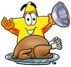 Cartoon Star Character With a Thanksgiving Day Turkey clipart