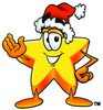 Cartoon Star Character Wearing a Santa Claus Hat clipart