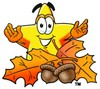 Cartoon Star Character With Autumn Leaves clipart