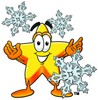 Cartoon Star Character With Snow Flakes in Winter clipart