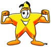 Cartoon Star Character Flexing His Muscles clipart