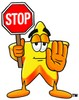 Cartoon Star Character Holding a Stop Sign clipart