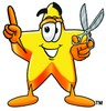 Cartoon Star Character Holding Scissors clipart