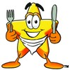 Cartoon Star Character Getting Ready to Eat clipart