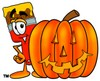 Cartoon Paint Brush Character With Halloween Pumpkin clipart