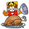 Cartoon Paint Brush Character With a Thanksgiving Turkey clipart