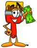 Cartoon Paint Brush Character Holding Money clipart