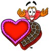 Cartoon Plunger With Valentines Candy Box clipart