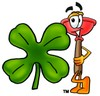 Cartoon Plunger With a Shamrock clipart