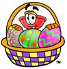 Cartoon Plunger With an Easter Basket clipart