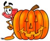Cartoon Plunger With a Halloween Pumpkin clipart