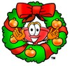 Cartoon Plunger in a Christmas Wreath clipart
