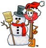 Cartoon Plunger With a Snowman clipart