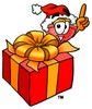 Cartoon Plunger With a Christmas Gift clipart