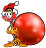 Cartoon Plunger With a Christmas Ball clipart