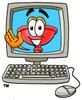 Cartoon Plunger in a Computer clipart