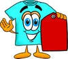 Cartoon T Shirt Holding a Price Tag clipart