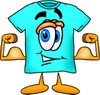 Cartoon T Shirt Flexing His Muscles clipart