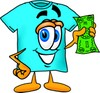 Cartoon T Shirt Holding Money clipart
