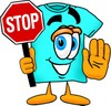 Cartoon T Shirt Holding a Stop Sign clipart