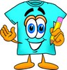 Cartoon T Shirt Holding a Pencil clipart