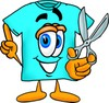 Cartoon T Shirt Holding Scissors clipart