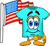 Cartoon T Shirt With an American Flag clipart