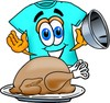 Cartoon T Shirt With a Thanksgiving Turkey clipart
