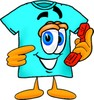 Cartoon T Shirt Holding a Phone clipart