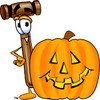 Cartoon Mallet With A Halloween Pumpkin clipart