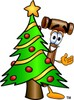 Cartoon Mallet With A Christmas Tree clipart